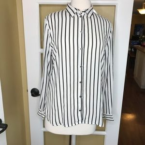 H&M Long Sleeve Striped Button Up Top